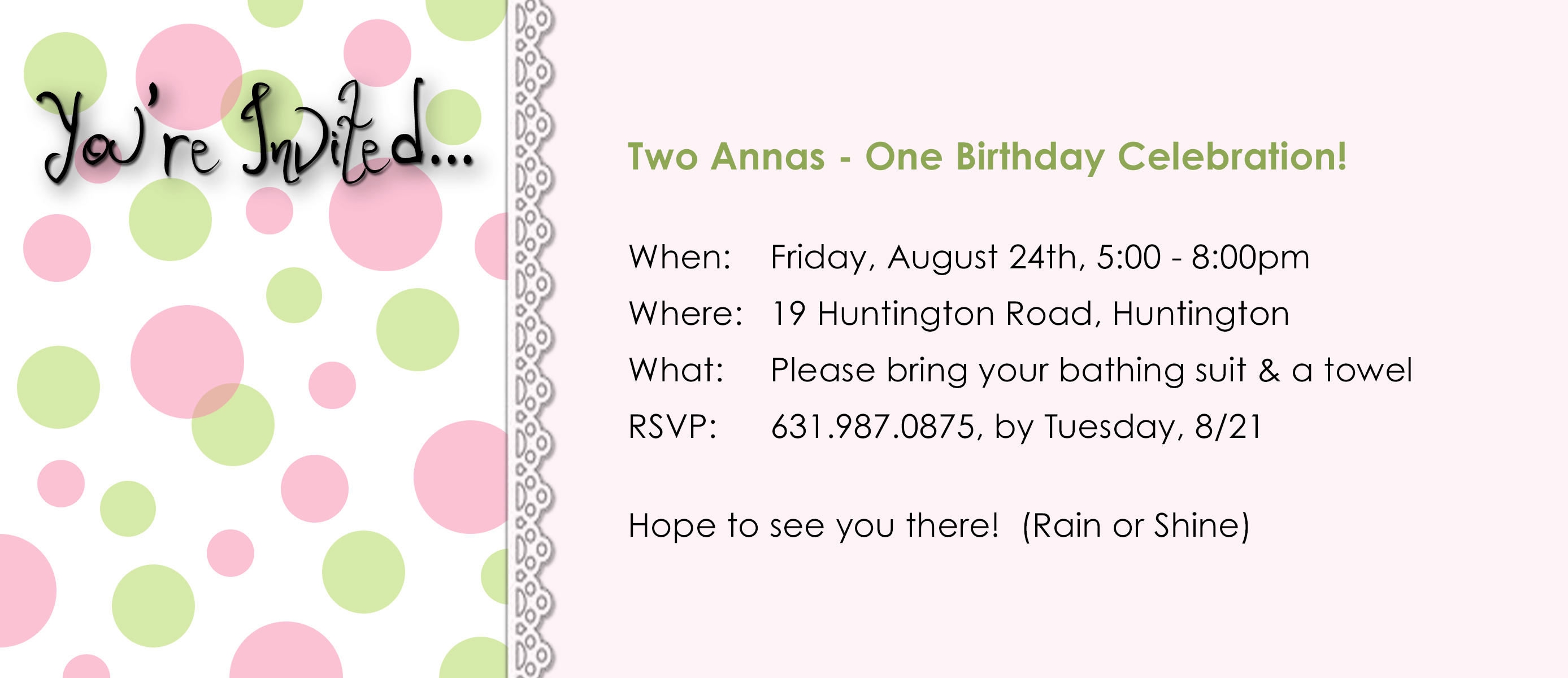 Birthday Party Invitation For Two 14 Year Old Girls